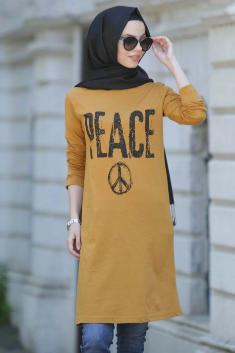 Peace Printed Mustard Tunic