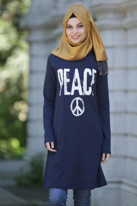 Peace Printed Nevy Blue Tunic