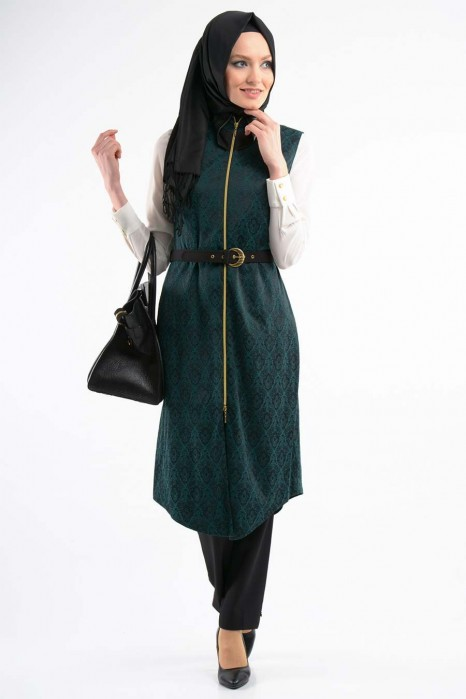Jacquard Green Coat